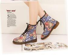 New New Fashion Women Flower  Lace up Round toes Chunky Heel Ankle Matin Boots