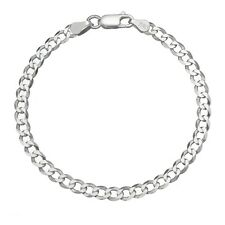 Solid 925 Sterling Silver Men's Heavy Italian 8mm Cuban Curb Link Chain Bracelet