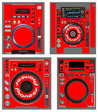 Pioneer CDJ Skin Custom RED Protective Decal Cover ALL MODELS 800 400 900 1000