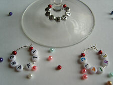 1 6 12 or 25 Personalised Wine Glass Charms with Pearls - Party Favours