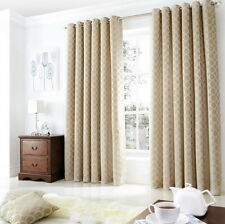 Pair of Cream/Beige Luxury Heavy Chenille Fully Lined Eyelet Curtains BN Circle