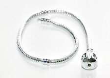 Silver Snake Chain Bracelet fits European Beads Charms with 925 Plating
