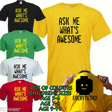 ASK ME WHATS AWESOME FLIP T SHIRT everything is movie girl boy KID CHILDREN
