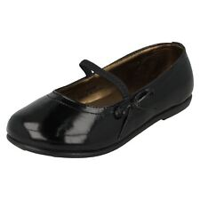 Girls H2129 Black patent synthetic slip on shoe decorative bow by SPOT ON  £5.99