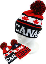 Canada Cuffed Beanie Winter Knit Hat Cap Pom Pom New Maple Leafs Canadian