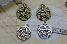Free shipping 20/60pcs Retro Style alloy Double sided  pentagram Charms Pendant