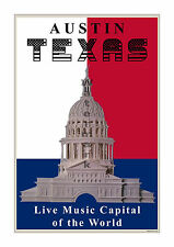 Austin, Texas - Live Music Capital of the World - Unique Poster/Print