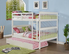 FULL OVER FULL KID'S BUNK BED W/ OPTIONAL TWIN TRUNDLE OR DRAWERS - WHITE