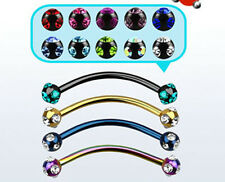 "Steel Banana Ring Snake Eyes 16G 3mm Crystal Balls 9/16"" 3 Color Bars Barbell US"