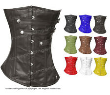 Full Steel Boned Waist Training Genuine Leather Overbust Shaper Corset #H8284-LE