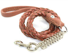 New Dog leash - Hand Crafted Braided Genuine Real Leather Dog Leash Lead - Brown