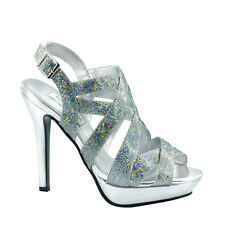 Rita by Touch Ups Silver Sparkle Platform High Heel Shoes (G9P2)