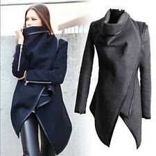 Ladies Spring Slim Cropped Trench Coat Jacket Winter Overcoat Plus Size