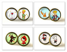 Retro Style Handmade Glass Dome Stud Earrings, Red Riding Hood The Little Prince