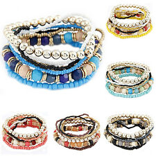 Fashion Womens Bohemian Style Multilayer Acrylic Elastic Bracelet Beaded Chain