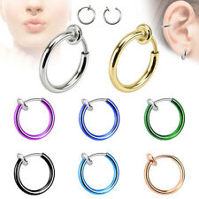 One pc Spring Action Fake Septum Ring in Rhodium Plated Brass
