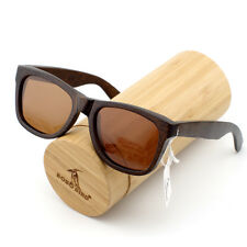 B-01 Big Vintage Square Brown UV400 Bamboo Wood Men's Sunglasses Women New Brand