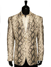 Angelino Men Tan Python Reptile SnakeSkin Design 2 Button Trending Party Blazer