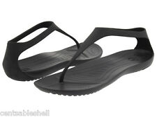 NEW-Womens CROCS Sexi Flip Flop Sandals Shoes-Size 7-8-Black Slip On-Casual-NWT