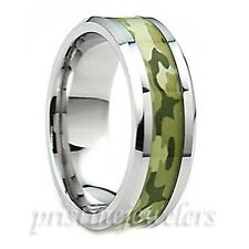 Titanium Camouflage Soldier Army Camo Silver Mens Wedding Band Promise Ring NEW