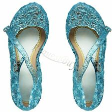 Girls Kids Princess Fancy Dress Up Cosplay Blue Jelly Sandal Shoes Party Costume