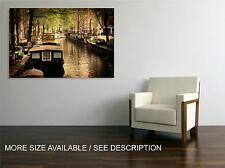 Canvas Print Picture Amsterdam, Canal/ Gallery wrapped ready to hang