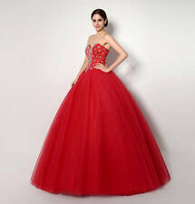 New Sweetheart Crystal Bead BrownTulle A-Line Prom Quincenera Dresses Size 8 10