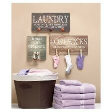 Laundry Room Wall Sign Hanging Art Decor - Laundry, Keeps The Change, Lost Socks