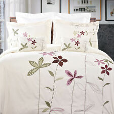 5pc White or Ivory South Garden Embroidered Duvet Cover Bedding Set & Pillows