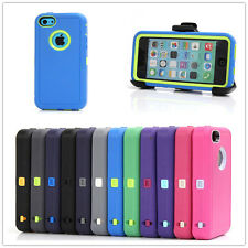 Heavy Duty Defender Case With Build in Screen Protector w/Clip For iPhone 5C