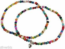 2 x ANKLET PLAIN and HEART Charm on Multi-Colour Slim Seed Glass Beads Mix