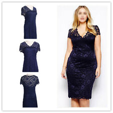 Womens Floral Print Short Sleeve V-Neck Lace Bodycon Sexy Elegant Pencil Dress H