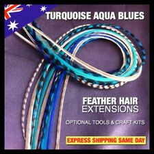 Feather Hair Extensions Grizzly Naturals Turquoise Aqua Blue 15pc 4FRE X-XXL Pck