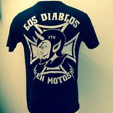 DIABLOS EN MOTOS biker t devil iron cross patch jacket leather boots belt harley