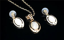 Oval Fashion Women Necklace Gold Earrings Alloy Jewelry Set for Ladies
