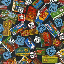 ½ MTRs / FQ / Swatch - Robert Kaufman ROAD TRIP ROUTE 66 Fabric - Black