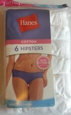HANES LADIES 6 PAIR HIPSTERS WHITE COLOR 100% COTTON TAGLESS
