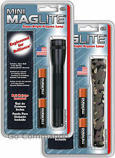 Mini MagLite Flashlight With Belt Holster Combo Pack - Black or Woodland Camo