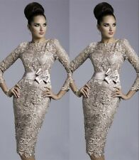 Stock Champagne Long Sleeve Lace mother of the bride Evening Dresses Stock Size