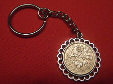 LUCKY SIXPENCE PENDANT KEYRING ANY YEAR £2.99 FREE P&P BIRTHDAY BIRTH YEAR GIFT