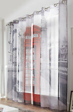"London Phone Box Print Westminster Voile Eyelet Curtains 58"" wide x 90"" Drop"