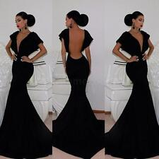 Women Deep V Neck Backless Bat Sleeve Cocktail Evening Party Gown Dress S M L XL