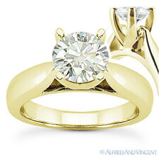 Round Cut Moissanite 14k Yellow Gold Cathedral Setting Solitaire Engagement Ring