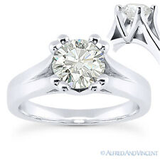 Round Cut Moissanite 14k White Gold Cathedral Setting Solitaire Engagement Ring