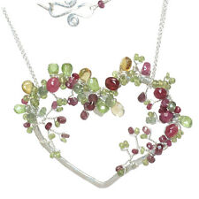 Gemstone Necklace Hammered Sterling Silver 14K Gold Heart Mixed Tourmaline USA