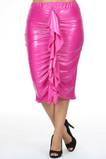 Plus Faux Leather Pink Ruched Midi Ruffled Pencil Skirt