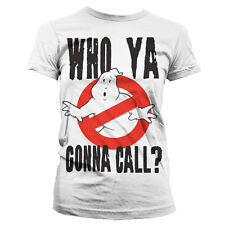 Ladies Official Ghostbusters Who Ya Gonna Call Fitted Retro T-Shirt 80s Tee