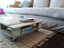 Unique Recycled Industrial Shabby Chic Wood Pallet Coffee Table Glass - Handmade