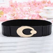 Fashion Women Metal Buckle Elastic Waist Belt Wide Stretch Cinch Waistband Strap