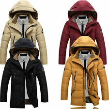 Men's Duck Down Jacket Outwear Warm Hooded Parka Winter Fur Collar Long Coat